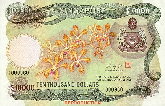 Banknote Index - Singapore 10000 Dollar: P8A Reproduction
