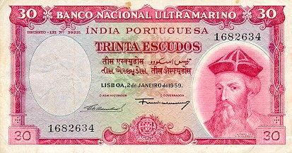 Banknote Index - Portuguese India 30 Escudo: P41, Lot 4452