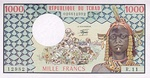Chad, 1,000 Franc, P-0003c