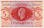 French Equatorial Africa, 5 Franc, P-0015a