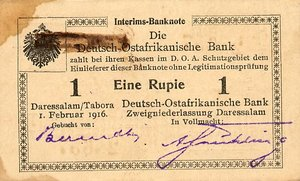 German East Africa, 1 Rupee, P20a T3