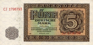 Germany - Democratic Republic, 5 Deutsche Mark, P11b PN162