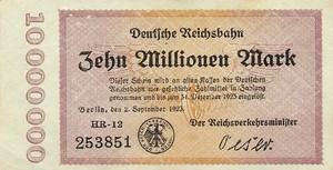 Germany, 10,000,000 Mark, S1014 HR-12