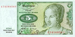 Germany - Federal Republic, 5 Deutsche Mark, P18a