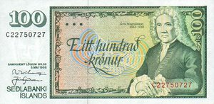 Iceland, 100 Krone, P54a Sign.1