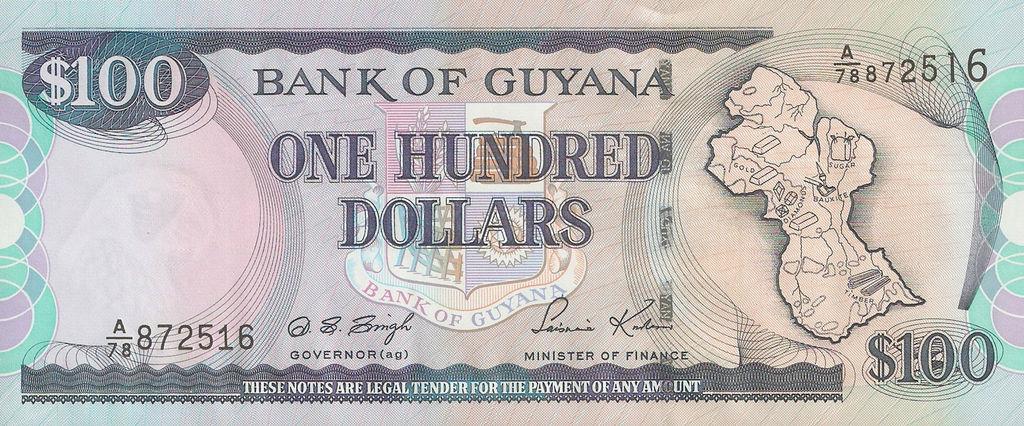 Bog B9c Guyana 100 Dollar P 0031 V3