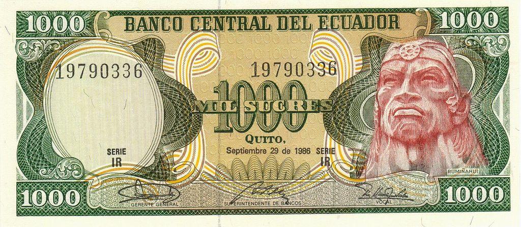 Ecuador 1000 Sucre: P125a Sign.2