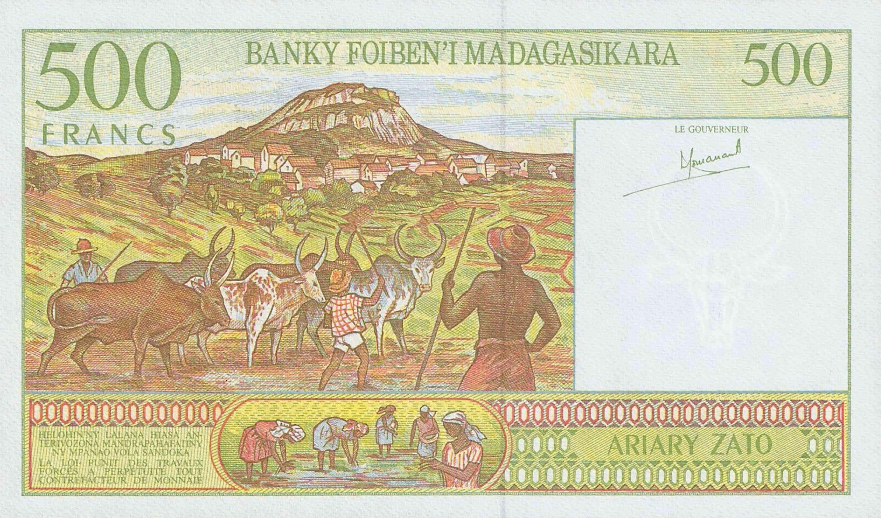 MADAGASCAR 500 FRANCS//100 ARIARY P-75 1994 SERIE A UNC