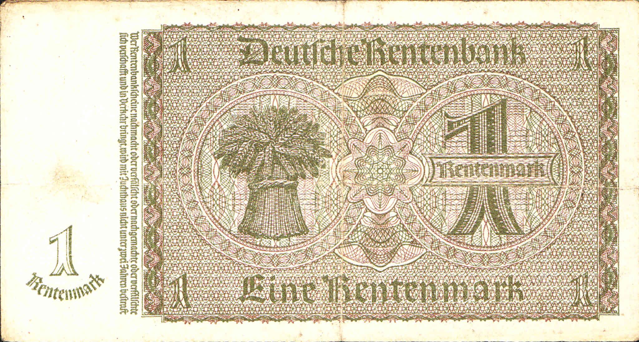 Germany 1 Rentenmark 1937 P-173b Banknotes UNC