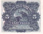 Belgian Congo, 5 Franc, P-0021
