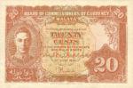 Malaya, 20 Cent, P-0009a