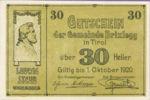 Austria, 30 Heller, FS 104a