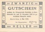 Austria, 20 Heller, FS 45Ia