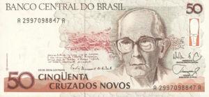 Brazil, 50 Cruzado Novo, P219a, BCB B41a