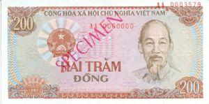 Vietnam, 200 Dong, P100s, SBV B28as