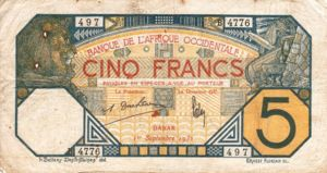 French West Africa, 5 Franc, P5Bf v2