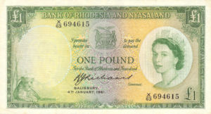 Rhodesia and Nyasaland, 1 Pound, P21b v17