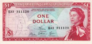 East Caribbean States, 1 Dollar, P13d Sign.6