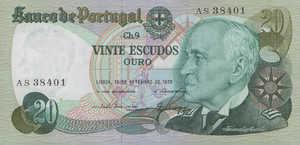 Portugal, 20 Escudo, P176a Sign.5