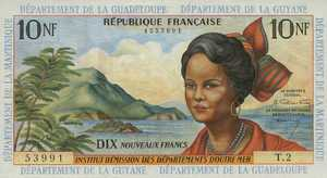 French Antilles, 10 New Franc, P5a