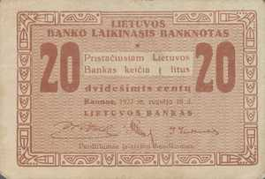 Lithuania, 20 Centu, P3a