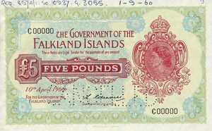 Falkland Islands, 5 Pound, P9s