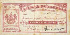 British North Borneo, 25 Cent, P0007b
