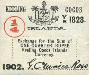Keeling and Cocos Islands, 1/4 Rupee, S124