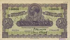 Leeward Islands, 2/6 Shilling and Pence, P1s